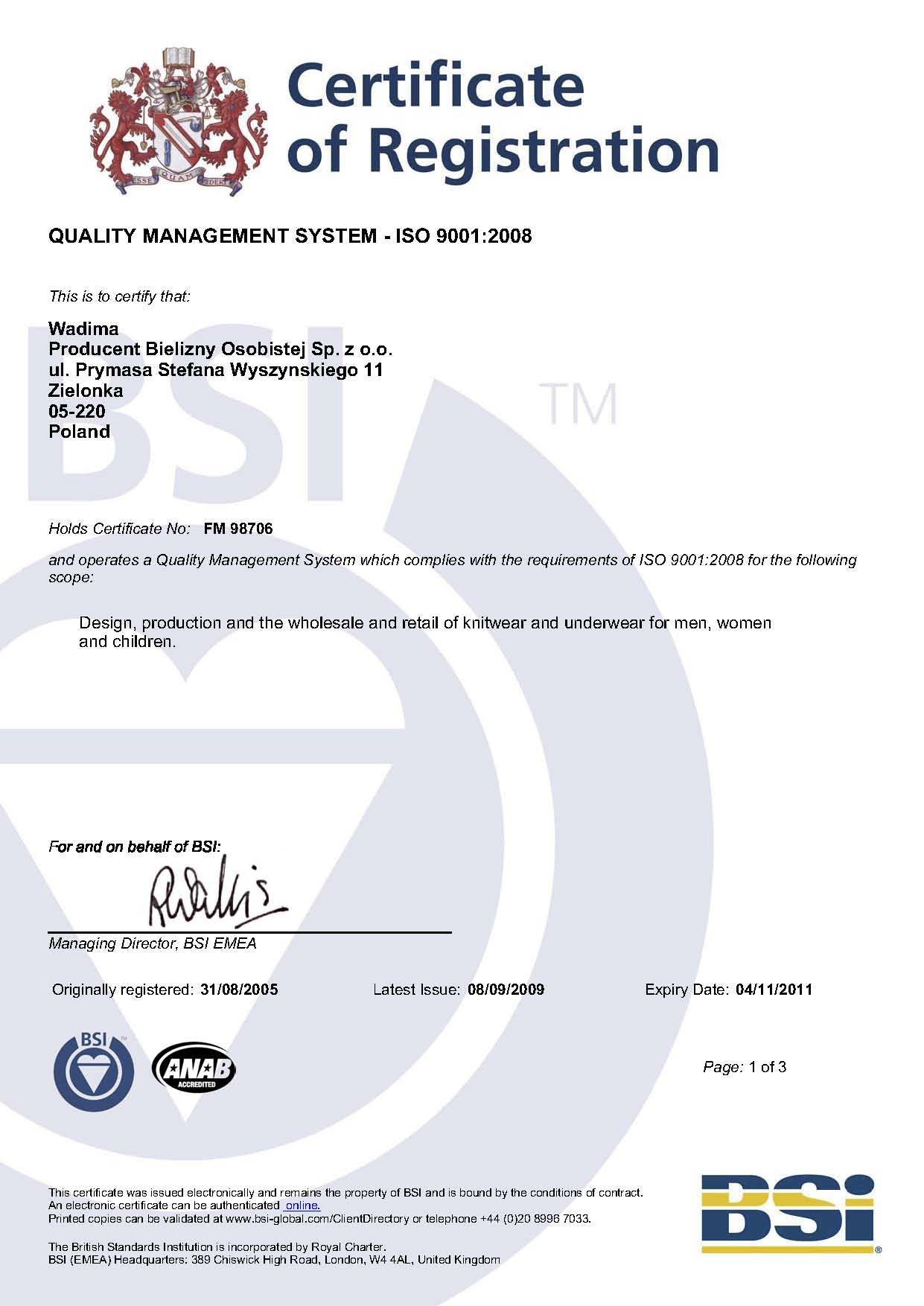 Certyfikat ISO Wadima
